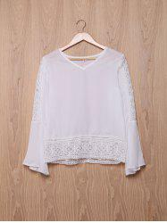 Stylish V-Neck Bell Sleeve Hollow Out Lace Blouse For Women - WHITE S