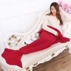 Mode Nap Poisson été Queue Forme Mermaid design Knitting Blanket - Rouge