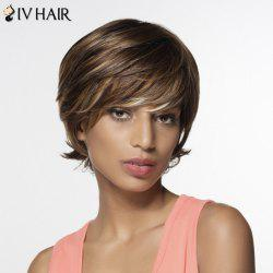 Perruque Shaggy Human Hair Side Bang courtes femmes - Multicolore