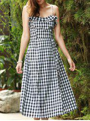 Strappy Gingham Check Ruffle Sleeveless Tea Length Skater Dress - WHITE AND BLACK