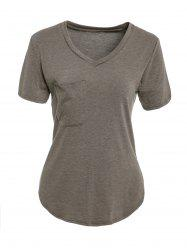 Chic Women's V Neck Candy Color Short Sleeve T-Shirt -