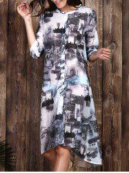 Chic Women's Ethnic Print 1/2 Sleeve Loose Dress - COLORMIX S