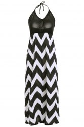 Bohemian Halter Chevron Maxi Dress