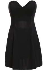Stylish Strapless Solid Color Hollow Out Women's Club Dress -