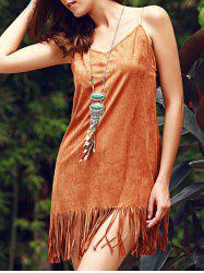 Stylish Fringed Suede Cami Dress For Women -