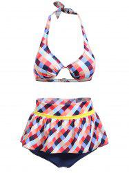 Cute Halter Plaid Printed Ruffles Culotte Bikini Set For Women -