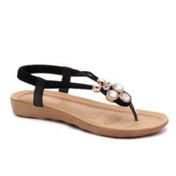 Concise Flat Heel and Elastic Design Sandals For Women -