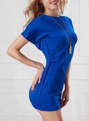 Batwing Round Neck Over Hip Bodycon Bandage Dress -