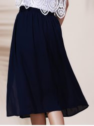A Line Midi Slit Skirt - NAVY BLUE