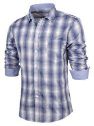Turn-Down Collar Slimming Long Sleeve Ombre Checked Shirt For Men - BLUE