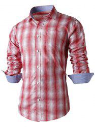 Turn-Down Collar Slimming Long Sleeve Ombre Checked Shirt For Men - RED