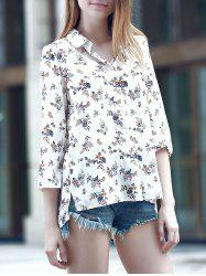 Sweet Turn-Down Collar 3/4 Sleeve Flower Print Women's Shirt