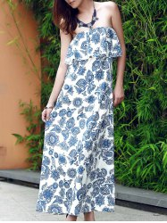 Flounce Floral Bandeau Maxi Summer Dress - BLUE
