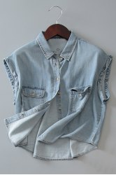 Street Style Shirt Collar Sleeveless Bleach Wash Front Pockets Design Women's Denim Shirt -
