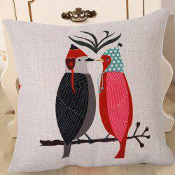 Fashion Bird In Love Pattern Square Shape Flax Pillowcase (Without Pillow Inner)