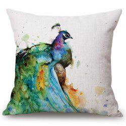 Fashion Watercolor Peacocks Pattern Square Shape Flax Pillowcase (Without Pillow Inner) -