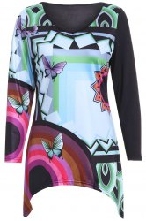 Casual Long Sleeves Butterfly Print Blouse For Women -