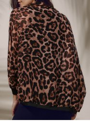 Stylish Leopard Print 3/4 Sleeve Women's Chiffon Cardigan - BLACK