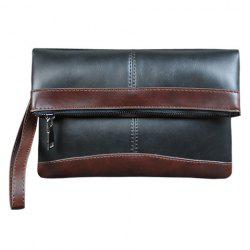 Trendy PU Leather and Colour Block Design Clutch Bag For Men -