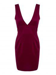 Chic Plunging Neck Sleeveless Solid Color Low-Cut Dress For Women - WINE RED