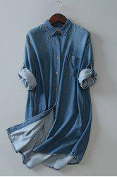 Stylish Bleach Wash Long Sleeve Loose Women's Shirt Denim Dress