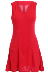 Elegant V-Neck Sleeveless Women's Flare Dress -