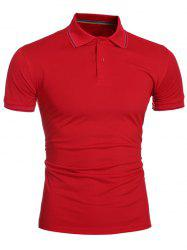 Laconic Turn-down Collar Colorful Stripes Short Sleeves Polo T-Shirt For Men - RED M