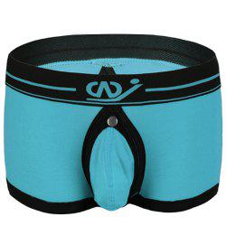 Color Block U Pouch Elastic Waist Boxers For Men - AZURE