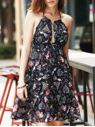 Halter Print Backless Empire Waist Casual Short Summer Dress