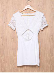 Elegant Low-Cut Short Sleeve Hollow Out Bodycon Dress For Women