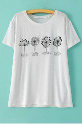 Stylish Round Neck Short Sleeve Dandelion Print Women's T-Shirt -