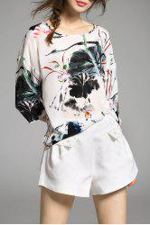 Scoop Neck Silk Blouse With Chinese Painting -
