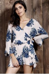 Tie Side Floral Romper with Sleeves