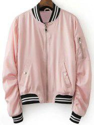 Stylish Pink Women's Baseball Jacket -