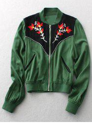 Ethnic Style Stand Neck Long Sleeve Floral Embroidery Jacket For Women -