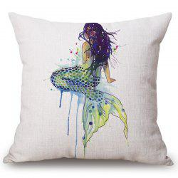 Fashion Mermaid Watercolor Pattern Square Shape Flax Pillowcase (Without Pillow Inner) -
