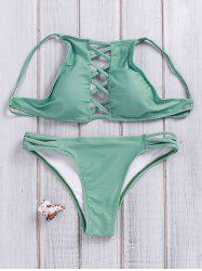 Lace Up Criss Cross Halter Bathing Suits - GREEN S
