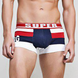 Color Block Striped Elastic Waist U Pouch Boxers For Men -
