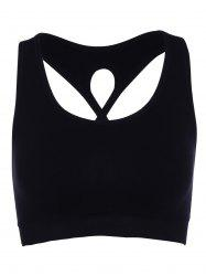 Trendy U-Neck Cut Out Solid Color Women's Sports Bra - BLACK