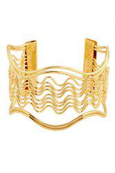 Chic Hollow Out Wavy Striped Golden Bracelet For Women