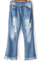 Casual Pockets Ripped Rough Selvedge Jeans For Women