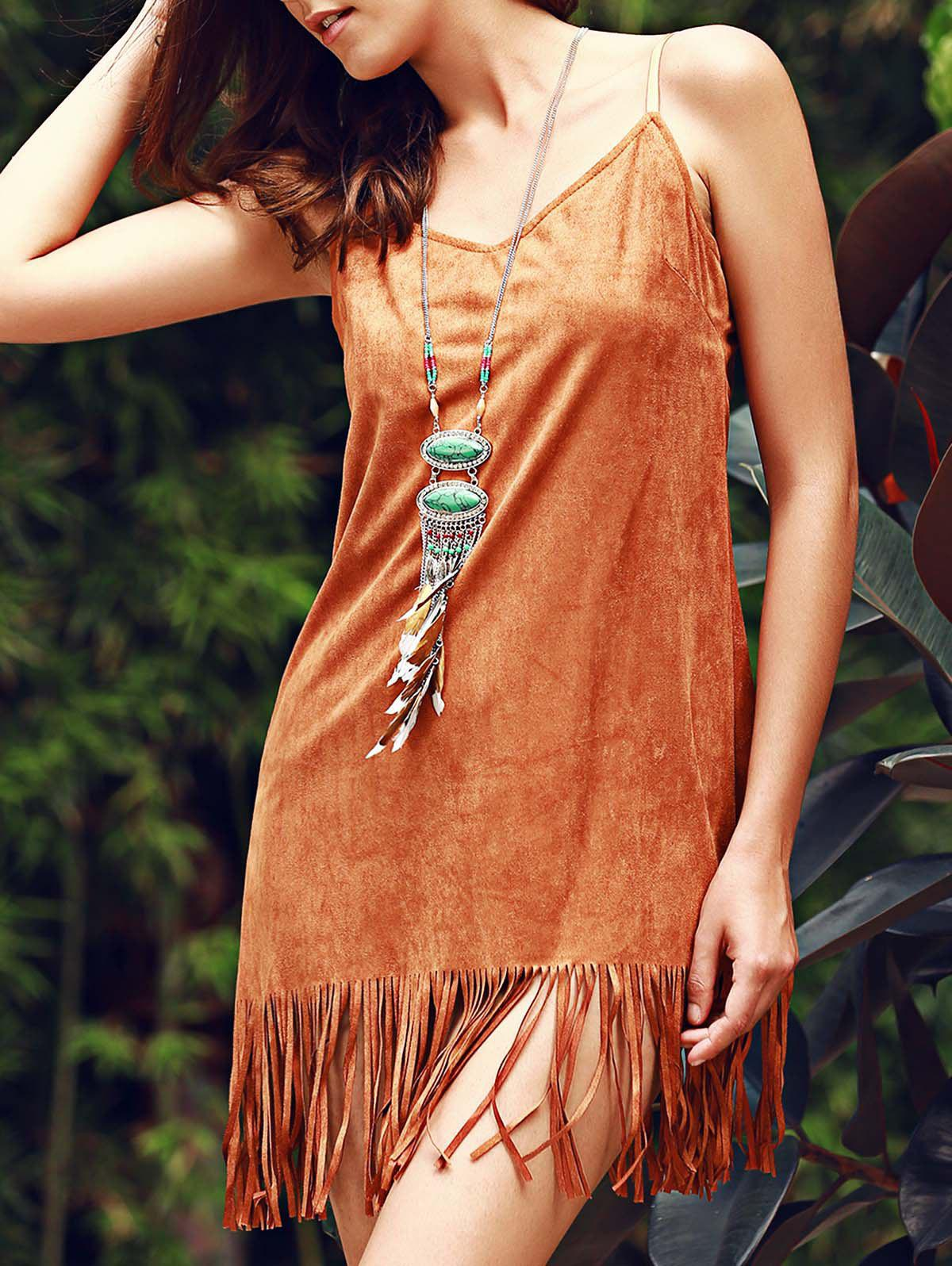 Cheap Stylish Fringed Suede Cami Dress For Women