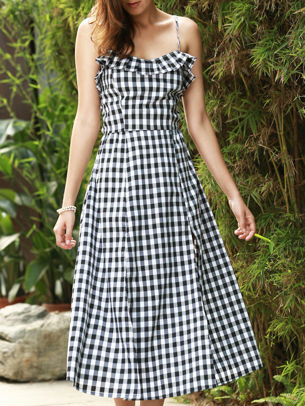 Sale Strappy Gingham Check Ruffle Sleeveless Tea Length Skater Dress