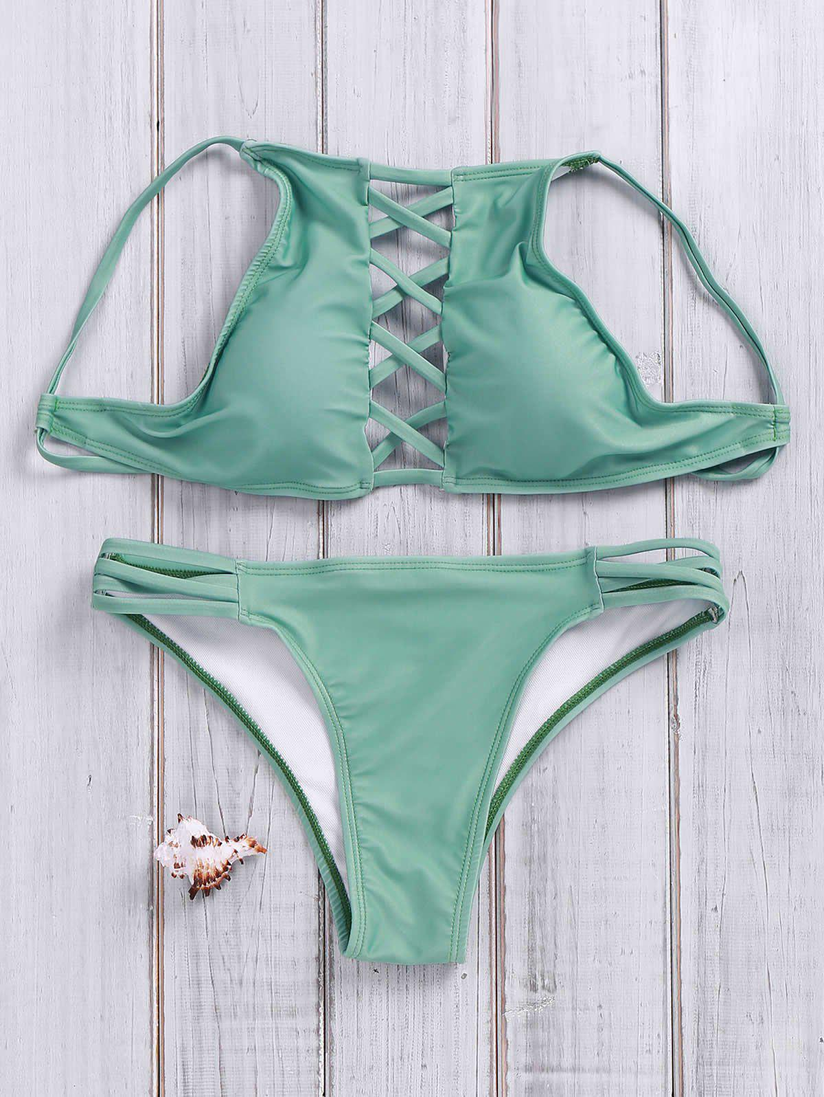 Lace Up Criss Cross Halter Bathing SuitsWOMEN<br><br>Size: M; Color: GREEN; Swimwear Type: Bikini; Gender: For Women; Material: Polyester; Bra Style: Unlined; Support Type: Wire Free; Neckline: Halter; Pattern Type: Solid; Embellishment: Criss-Cross; Waist: Natural; Elasticity: Elastic; Weight: 0.209kg; Package Contents: 1 x Top  1 x Briefs;