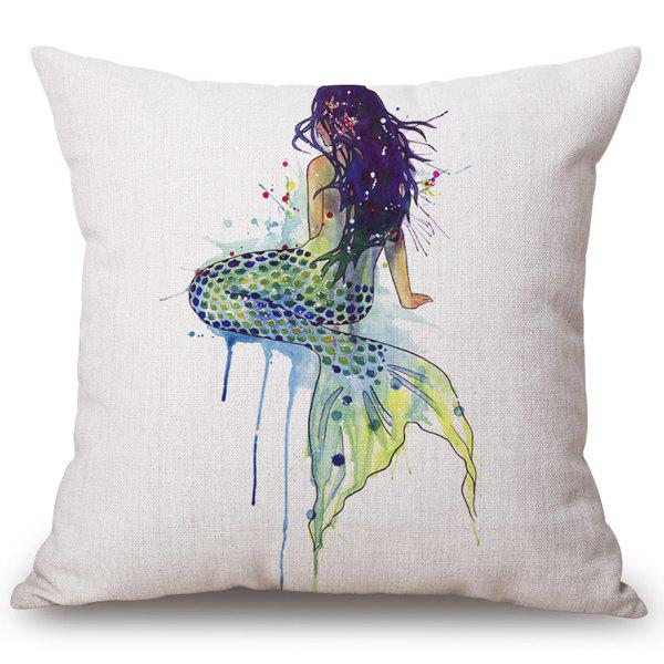 Affordable Fashion Mermaid Watercolor Pattern Square Shape Flax Pillowcase (Without Pillow Inner)