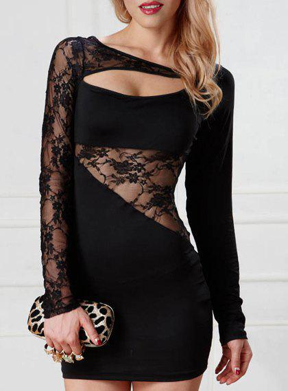 Trendy Long Sleeves Hollow Out Lace Splice Women's Dress