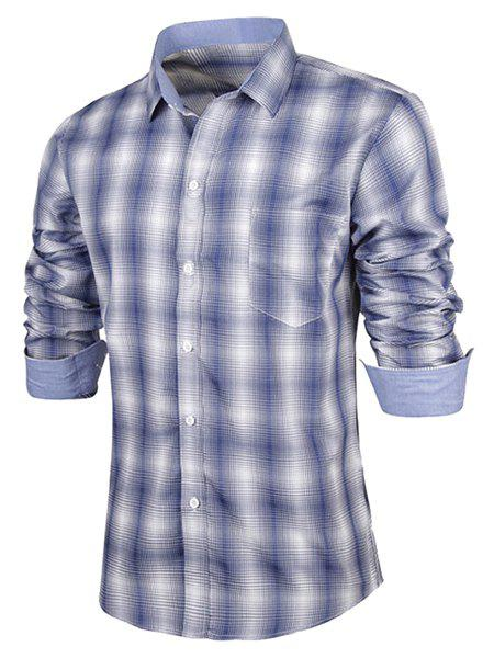 Latest Turn-Down Collar Slimming Long Sleeve Ombre Checked Shirt For Men