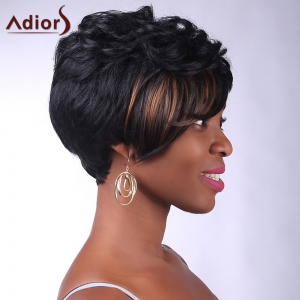 Fashion Side Bang Brown Highlight Charming Short Curly Synthetic Capless Wig For Women -