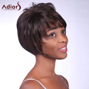 Fashion Fluffy Side Bang Brown Mixed Black Charming Short Straight Synthetic Capless Wig For Women -