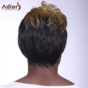 Fashion Fluffy Side Bang Yellow Mixed Stunning Short Curly Synthetic Capless Wig For Women - COLORMIX